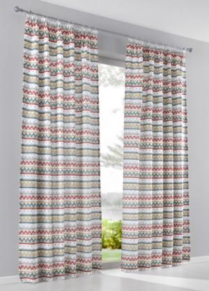 Штора Хавьер (1 шт.), гофрированная тесьма (ржавый/зеленый) bonprix. Цвет: ржавый/зеленый