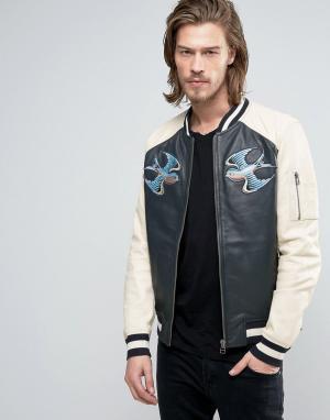 Goosecraft Кожаная куртка. Цвет: синий
