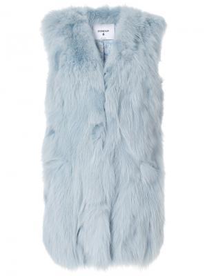 Длинная жилетка из лисьего меха Dondup. Цвет: синий