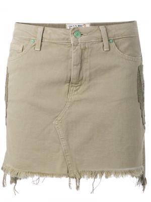 Джинсовая мини-юбка Sandrine Rose. Цвет: зелёный