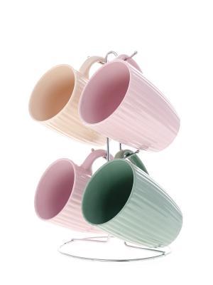 Чашки в наборе  на подставке Floret 4шт/ 350мл п/у Elff Ceramics. Цвет: розовый, светло-зеленый, светло-бежевый