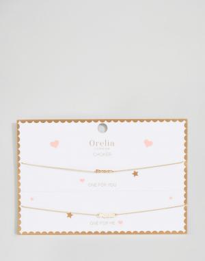 Orelia Ожерелья-чокер с делимой открыткой и подвесками Forever Friends Orel. Цвет: золотой
