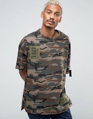Vision Air Камуфляжная футболка с заниженной линией плеч. Цвет: зеленый