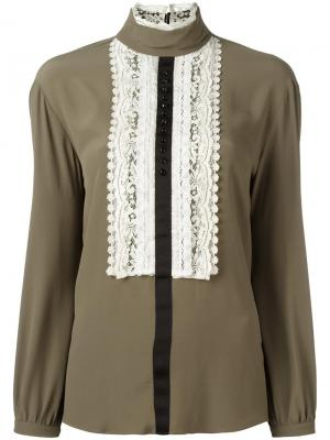 Блузка с кружевной вставкой 8pm. Цвет: зелёный