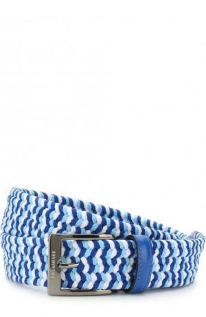 Плетеный ремень с кожаной отделкой и металлической пряжкой Paul&Shark. Цвет: голубой
