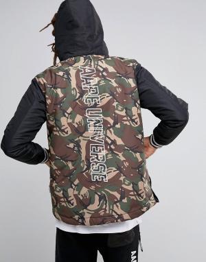 AAPE BY A BATHING APE Куртка с принтом на спине. Цвет: черный