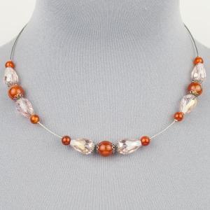 Колье-чокер Изящное сердолик, хрусталь, арт. п8052 Бусики-Колечки. Цвет: оранжевый