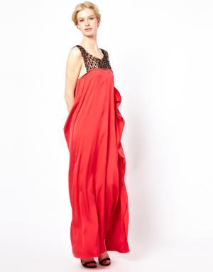 Sophia Kokosalaki Длинное платье с завязкой на шее Kore by. Цвет: арбуз