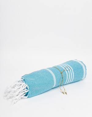 Buji Baja Пляжное полотенце. Цвет: бирюзовый в тонкую п