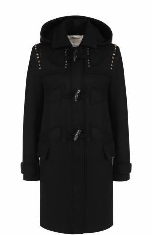 Шерстяное пальто-дафлкот с капюшоном Valentino. Цвет: черный