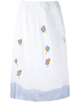 Юбка с цветочной вышивкой Jupe By Jackie. Цвет: белый