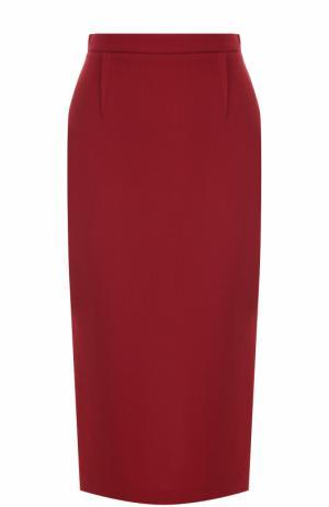 Шерстяная юбка-карандаш с контрастной молнией Roland Mouret. Цвет: красный
