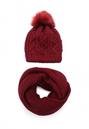 Комплект снуд и шапка Fete. Цвет: бордовый