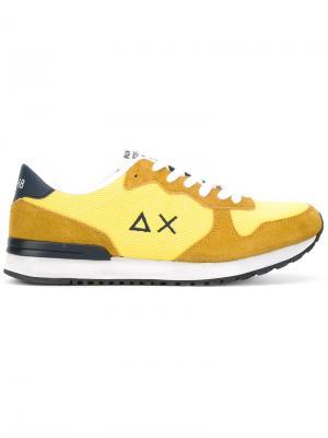 Кроссовки на шнуровке Sun 68. Цвет: жёлтый и оранжевый
