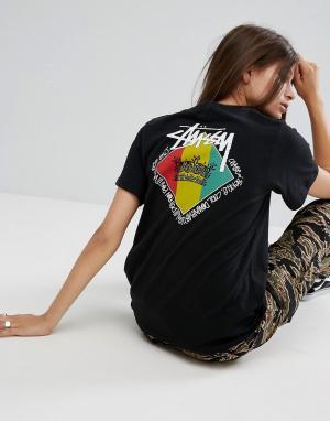 Stussy Оверсайз-футболка с принтом. Цвет: черный