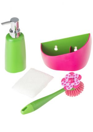 Дозатор, щетка для посуды, губка на подставке LOLAFLOR VIGAR. Цвет: белый (белый, зеленый, оранжевый), белый (белый, зеленый, розовый), белый (белый, зеленый, синий), белый (белый, черный)