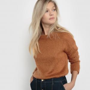 Пуловер с круглым воротником La Redoute Collections. Цвет: серый жемчужный