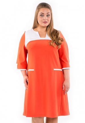Платье Luxury Plus. Цвет: коралловый