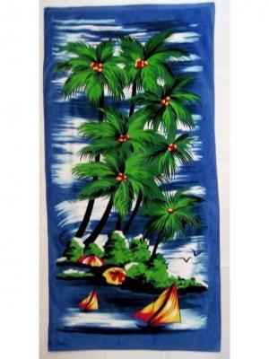 Пляжное полотенце 70*140 Dream time. Цвет: синий, зеленый