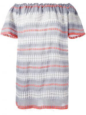 Полосатое платье с открытыми плечами Lemlem. Цвет: серый