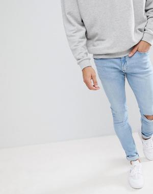 Pull&Bear Голубые супероблегающие джинсы скинни. Цвет: синий