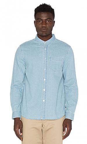 Джинсовая рубашка с застёжкой на пуговицу Stussy. Цвет: синий