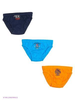 Трусы, 3 шт. Cascatto. Цвет: темно-синий, бирюзовый, оранжевый
