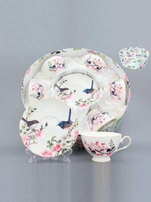 Чайный набор Райские птички Elan Gallery. Цвет: белый, розовый, синий