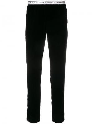 Укороченные брюки с логотипом Ermanno. Цвет: чёрный