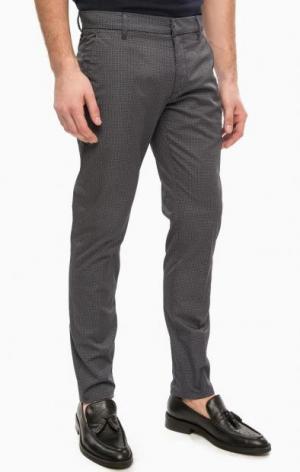 Зауженные хлопковые брюки на молнии Antony Morato. Цвет: серый
