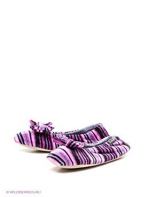 Тапочки Isotoner. Цвет: черный, фиолетовый, розовый