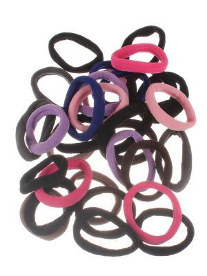 Резинки для волос текстильные 4 см, темно - разноцветные, 28 штук Радужки. Цвет: черный, светло-коричневый, фиолетовый