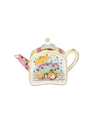 Сувенир-чайник Цветы и зонтик Elan Gallery. Цвет: розовый, зеленый, голубой, оранжевый