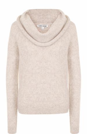 Шерстяной однотонный пуловер Elizabeth and James. Цвет: бежевый