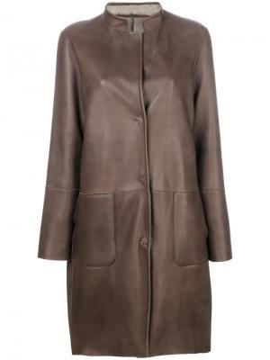 Пальто с панельным дизайном Manzoni 24. Цвет: коричневый