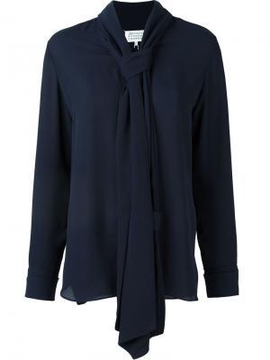 Блузка с шарфом Maison Margiela. Цвет: синий
