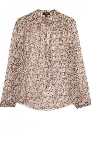 Шелковая полупрозрачная блуза с воротником аскот Theory. Цвет: разноцветный