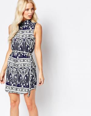 Parisian Платье-рубашка с принтом пейсли. Цвет: синий