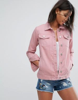 Miss Selfridge Длинная джинсовая куртка. Цвет: фиолетовый
