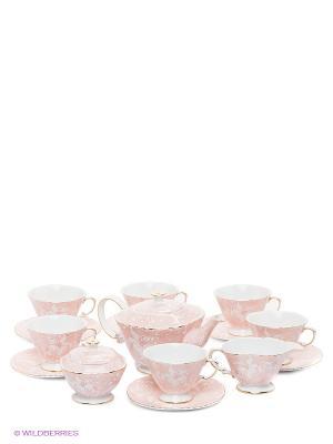 Чайный сервиз Фиоре Дорато Pavone. Цвет: бледно-розовый