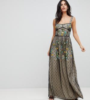 Frock and Frill Платье макси с вышивкой Premium. Цвет: черный