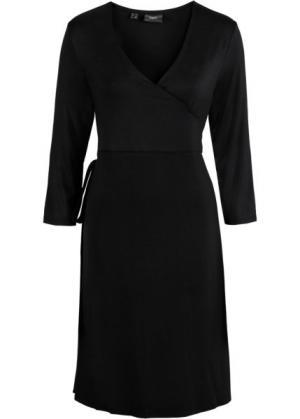 Платье с эффектом запаха для беременных (черный) bonprix. Цвет: черный