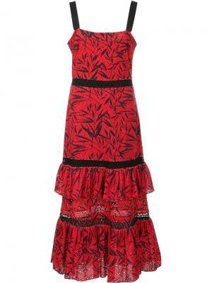 Многоярусное платье с люверсами Prabal Gurung. Цвет: красный