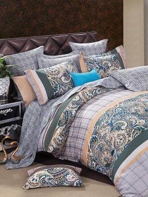 Комплект постельного белья Amore Mio. Цвет: темно-зеленый, серый