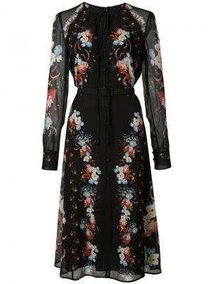 Платье с цветочным принтом Erdem. Цвет: чёрный