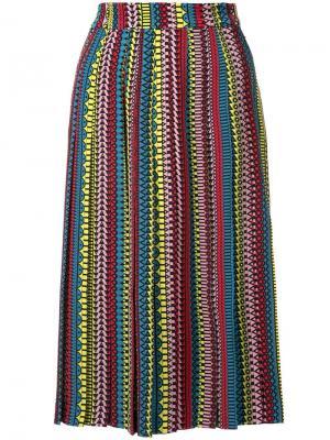 Плиссированная юбка с узором Holly Fulton. Цвет: многоцветный