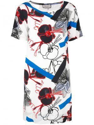 Платье с графическим и цветочным рисунками Paul & Joe. Цвет: белый