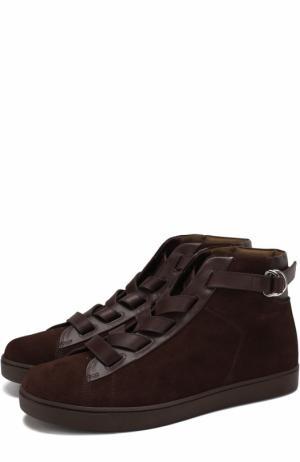 Высокие замшевые кеды на шнуровке Gianvito Rossi. Цвет: коричневый