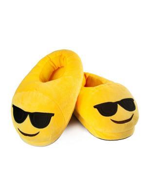 Тапки-смайлики Крутой (emoji) SOXshop. Цвет: желтый