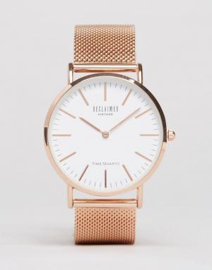 Reclaimed Vintage Золотисто-розовые классические часы с сетчатым браслетом Vin. Цвет: серебряный